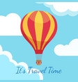 cartoon hot air balloons in blue sky with clouds vector image vector image