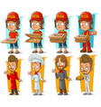 cartoon pizza delivery boy and chef character set vector image vector image
