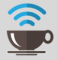 coffee and wifi sign symbol on gray background vector image