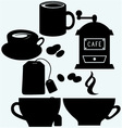 Cups of tea and cappuccino coffee grinder and a f vector image