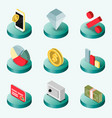 finance flat isometric icons vector image vector image
