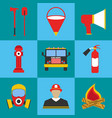 firefighter icon set fire departament equipment vector image vector image