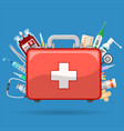 first aid kit with medications vector image