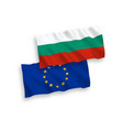 flags bulgaria and european union on a white vector image vector image