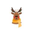 flat christmas reindeer in red scarf vector image vector image