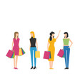 flat fashion shopping girls set vector image vector image