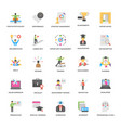 flat icons collection of success and opport vector image vector image