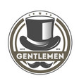 gentleman vintage label with cylinder hat vector image vector image