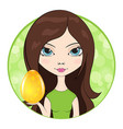 girl give an easter egg with floral decorations vector image