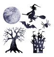 halloween watercolor silhouettes set vector image vector image
