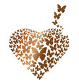 heart consisting of gold flying butterflies vector image vector image