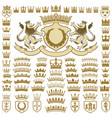 heraldic crests and crowns collection vector image vector image