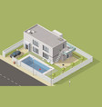isometric house building cottage vector image vector image