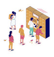 isometric postal terminal people standing in line vector image vector image