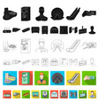 metro subway flat icons in set collection for vector image