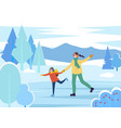 mom and daughter figure skating on rink together vector image