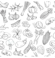 Outline hand drawn vegetable pattern flat style vector image vector image