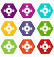 pipe fitting icon set color hexahedron vector image vector image
