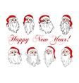 Santa Claus laughing faces icon set vector image
