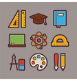 School and Education Items Modern Flat Icons Set vector image