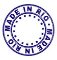 scratched textured made in rio round stamp seal vector image vector image