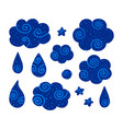 set collection doodle louds stars and drops vector image vector image