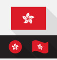 set hong kong flag flat design vector image vector image