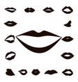 set lips girl silhouette vector image