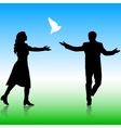 Silhouettes girl and guy released doves into the vector image vector image