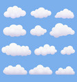 soft cartoon clouds set on blue background vector image