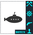 submarine with periscope icon flat vector image vector image