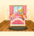 three girls in bedroom with pink teddybear vector image vector image