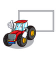 thumbs up with board tractor character cartoon vector image vector image