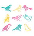 vintage paper cut birds set vector image vector image