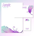 Watercolor card with bird feathers vector image vector image