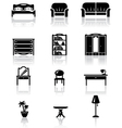 black and white furniture icons set vector image