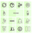 14 round icons vector image vector image