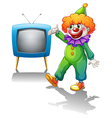 A clown with a television vector image vector image