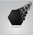 abstract hexagon geometric background black vector image vector image