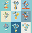 abstract trees with icons for web design vector image vector image