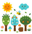 basic isolated funny forest kawaii part 2 vector image vector image