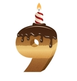 Birthday cake font - number nine vector image vector image