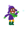 boy having fun with snoball isolated vector image vector image
