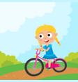 cartoon girl riding a bike having fun riding vector image vector image