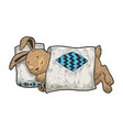 cartoon sleeping rabbit sketch engraving vector image vector image