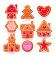 christmas gingerbread cookies with sugar icing vector image vector image