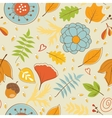 Colorful autumn pattern with leaves and flowers vector image vector image
