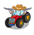 cowboy tractor character cartoon style vector image vector image