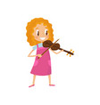 cute girl playing violin talented little musician vector image vector image
