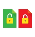 Document lock flat icon vector image vector image